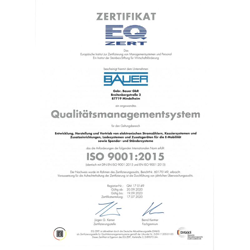 ISO 9001:2015 Zertifikat Bauer